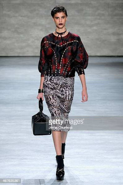 A model walks the runway at Zimmermann fashion show during MercedesBenz Fashion Week Fall 2014 at Lincoln Center on February 7 2014 in New York City
