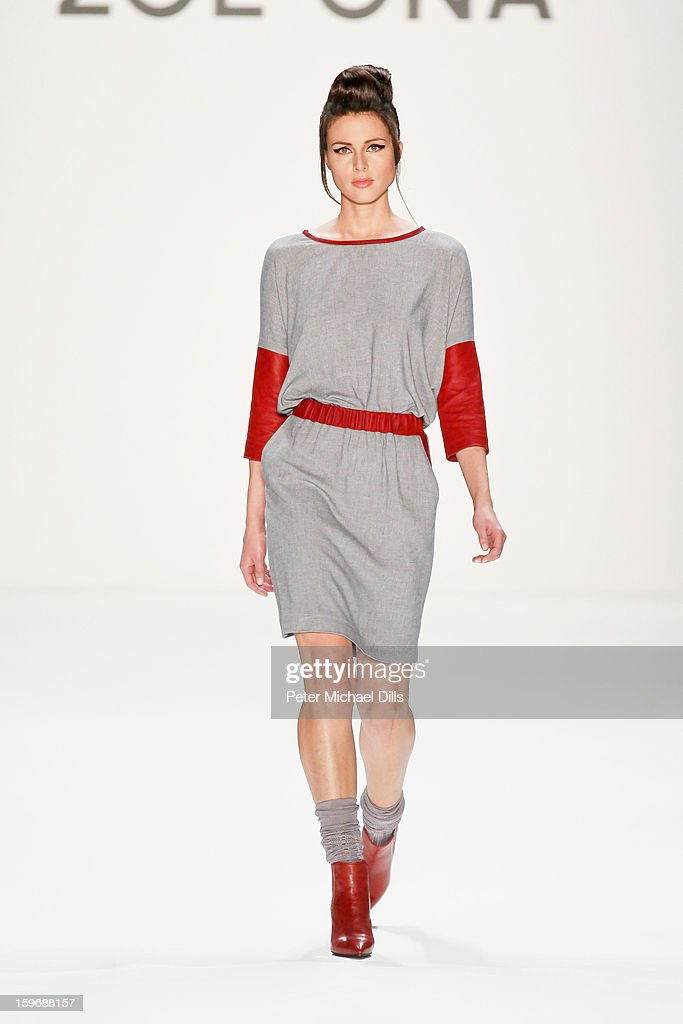 A model walks the runway at Zoe Ona Autumn/Winter 2013/14 fashion show during Mercedes-Benz Fashion Week Berlin at Brandenburg Gate on January 18, 2013 in Berlin, Germany.