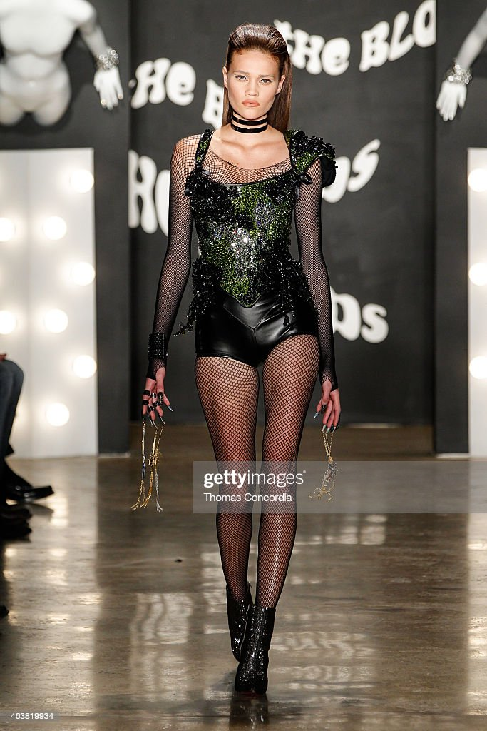 A model walks the runway atThe Blonds fashion show during MADE Fashion Week Fall 2015 at Milk Studios on February 18, 2015 in New York City.