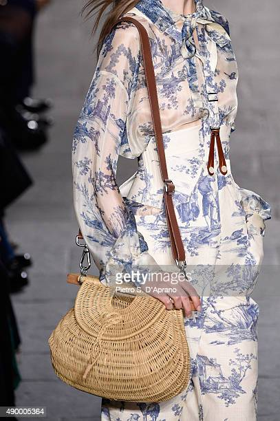 A model walks the runway bag detail during the Philosophy di Lorenzo Serafini fashion show as part of Milan Fashion Week Spring/Summer 2016 on...