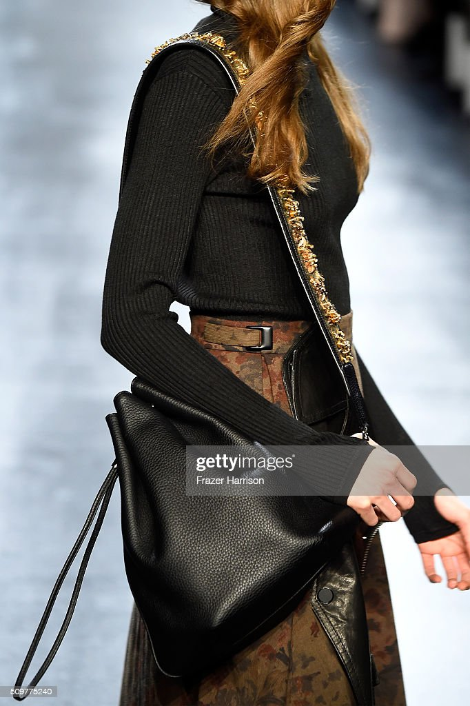 A model walks the runway, bag detail, wearing Concept Korea Fall 2016 during New York Fashion Week: The Shows at The Dock, Skylight at Moynihan Station on February 12, 2016 in New York City.