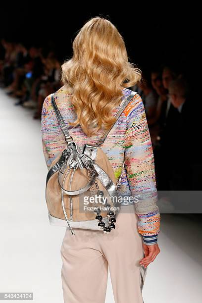 A model walks the runway bagpack detail at the Riani show during the MercedesBenz Fashion Week Berlin Spring/Summer 2017 at Erika Hess Eisstadion on...