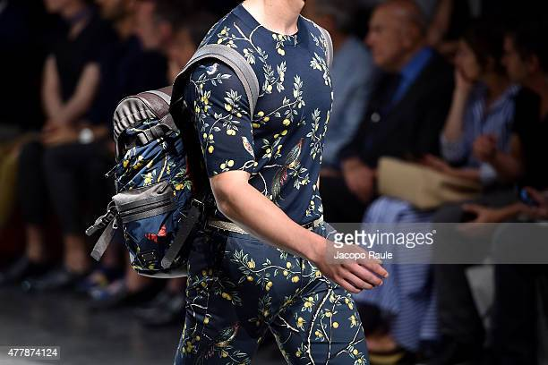 A model walks the runway bagpack detail during the Dolce Gabbana fashion show as part of Milan Men's Fashion Week Spring/Summer 2016 on June 20 2015...