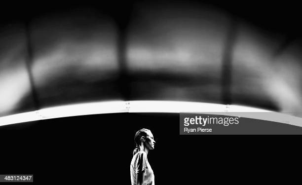 A model walks the runway before the Carla Zampatti show during MercedesBenz Fashion Week Australia 2014 at Carriageworks on April 6 2014 in Sydney...