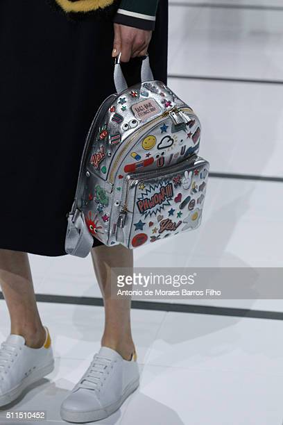 A model walks the runway detail at the Anya Hindmarch show during London Fashion Week Autumn/Winter 2016/17 at The Lindley Hall on February 21 2016...