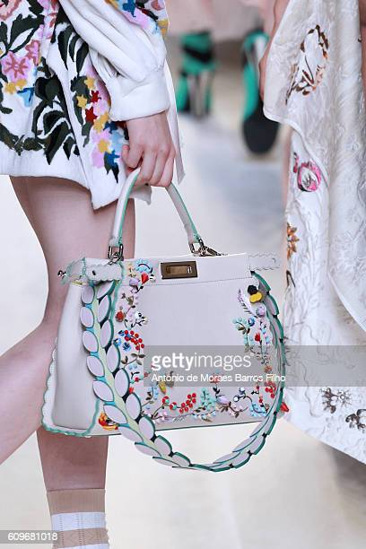 A model walks the runway detail at the Fendi show during Milan Fashion Week Spring/Summer 2017 on September 22 2016 in Milan Italy