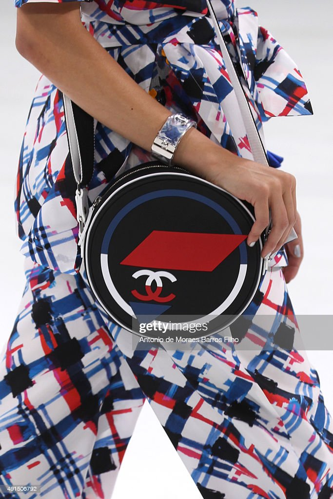 A model walks the runway detail during the Chanel show as part of the Paris Fashion Week Womenswear Spring/Summer 2016 on October 6 2015 in Paris...