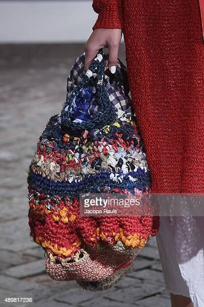 A model walks the runway detail during the Daniela Gregis fashion show as part of Milan Fashion Week Spring/Summer 2016 on September 24 2015 in Milan...