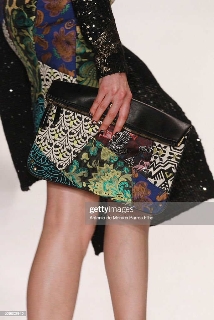 A model walks the runway, detail, during the Desigual show as a part of Fall 2016 New York Fashion Week> at The Arc, Skylight at Moynihan Station on February 11, 2016 in New York City.