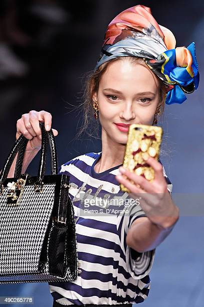 A model walks the runway detail during the Dolce Gabbana fashion show as part of Milan Fashion Week Spring/Summer 2016 on September 27 2015 in Milan...