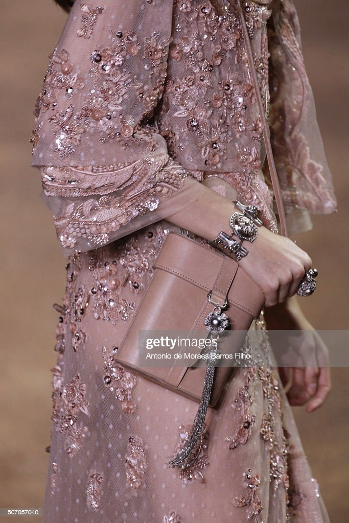 A model walks the runway detail during the Elie Saab Haute Couture Spring Summer 2016 show as part of Paris Fashion Week on January 27 2016 in Paris...