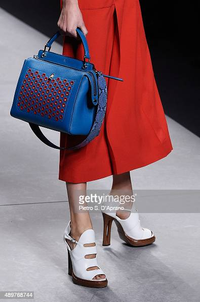 A model walks the runway detail during the Fendi fashion show as part of Milan Fashion Week Spring/Summer 2016 on September 24 2015 in Milan Italy