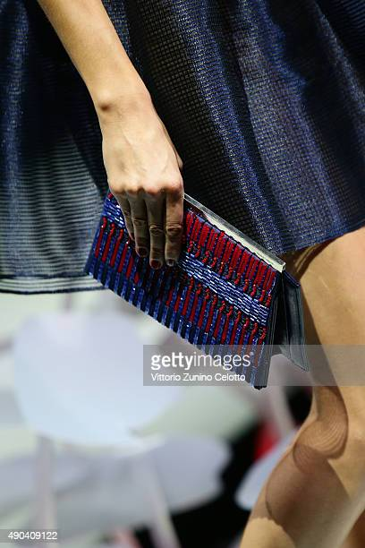 A model walks the runway detail during the Giorgio Armani fashion show as part of Milan Fashion Week Spring/Summer 2016 on September 28 2015 in Milan...