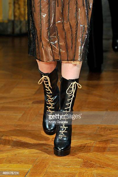 A model walks the runway detail during the Veronique Leroy show as part of Paris Fashion Week Womenswear Fall/Winter 2015/2016 on March 7 2015 in...