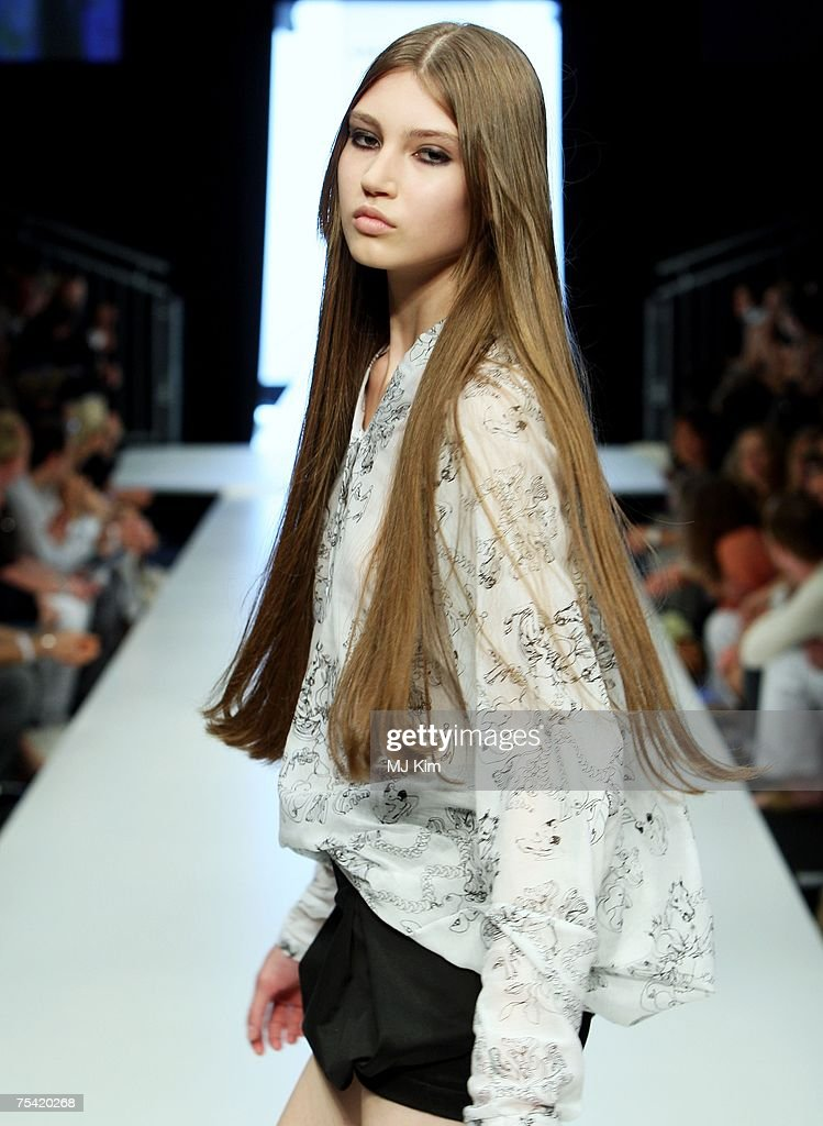 A model walks the runway displaying an outfit by Lala Berlin at the Karstadt New Generation Award fashion show during the MercedesBenz Fashion Week...