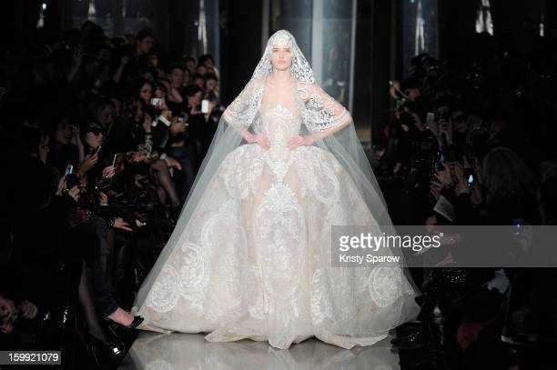 A model walks the runway duiring the Elie Saab Spring/Summer 2013 HauteCouture show as part of Paris Fashion Week at Pavillon Cambon Capucines on...