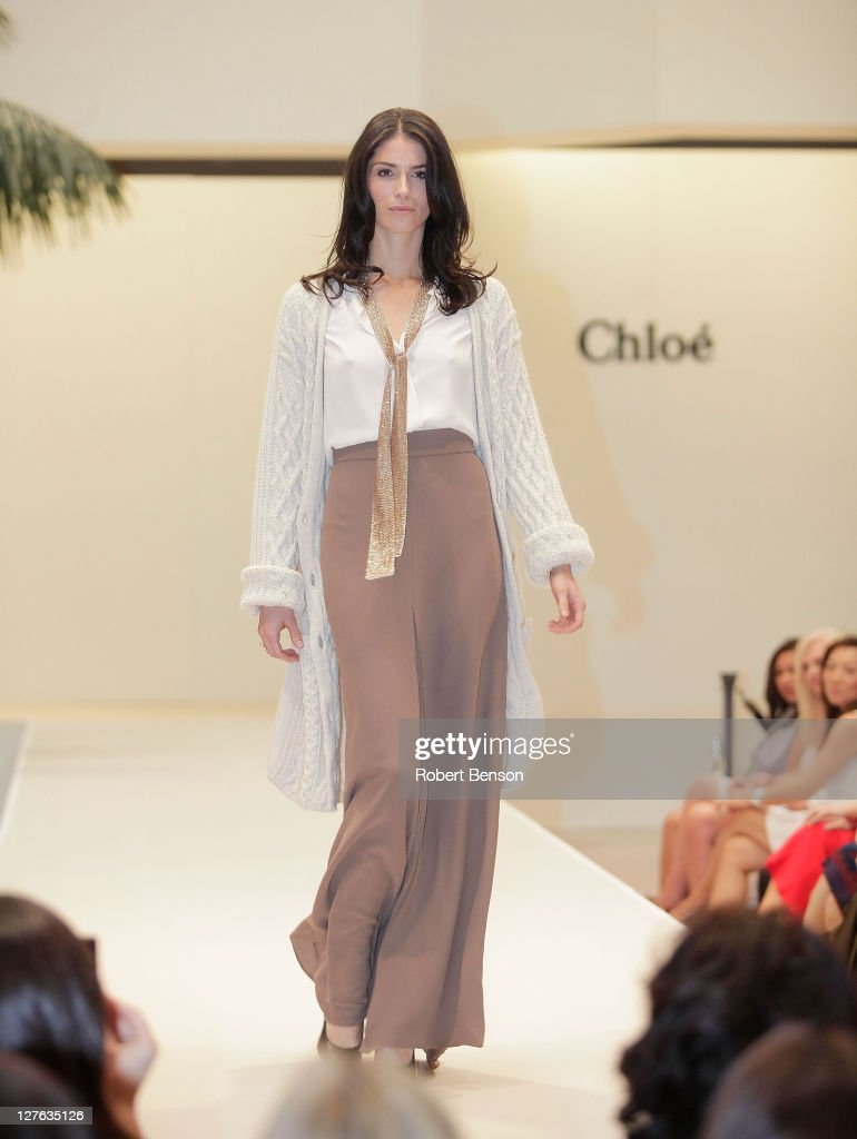 A model walks the runway during a Chloe And Van Cleef & Arpels Fashion Show at South Coast Plaza on April 20, 2011 in Costa Mesa, California.