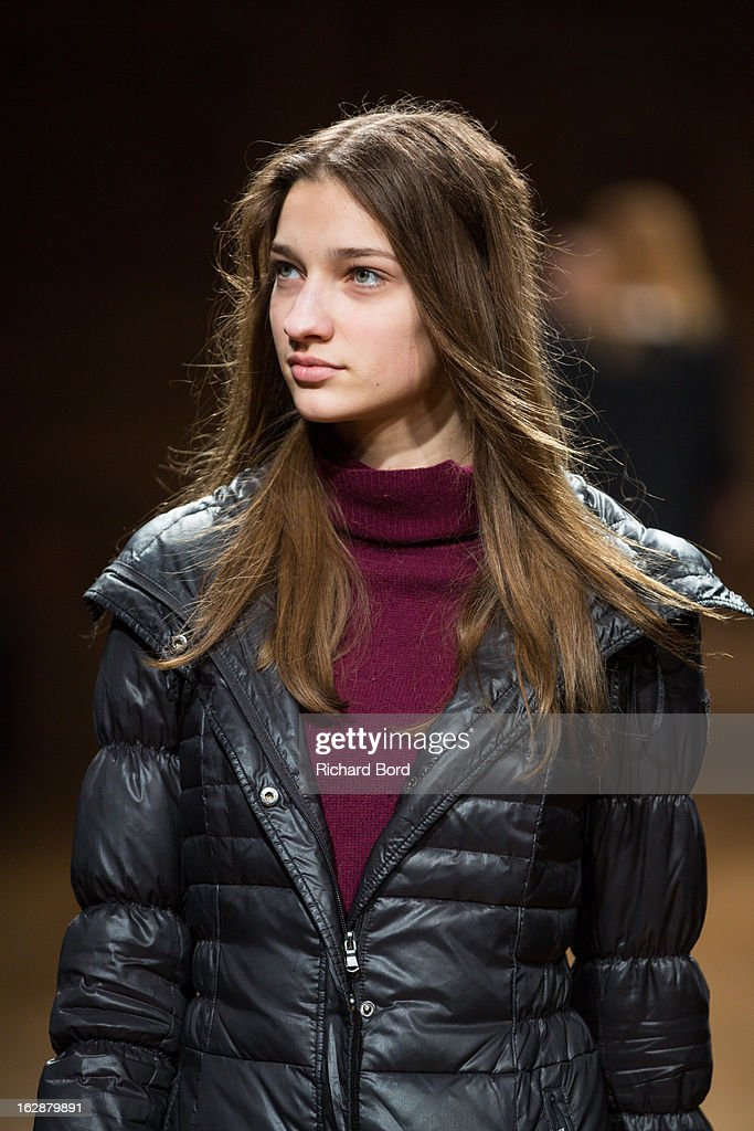 A model walks the runway during a rehearsal before the Christian Wijnants Fall/Winter 2013 Ready-to-Wear show as part of Paris Fashion Week on February 28, 2013 in Paris, France.