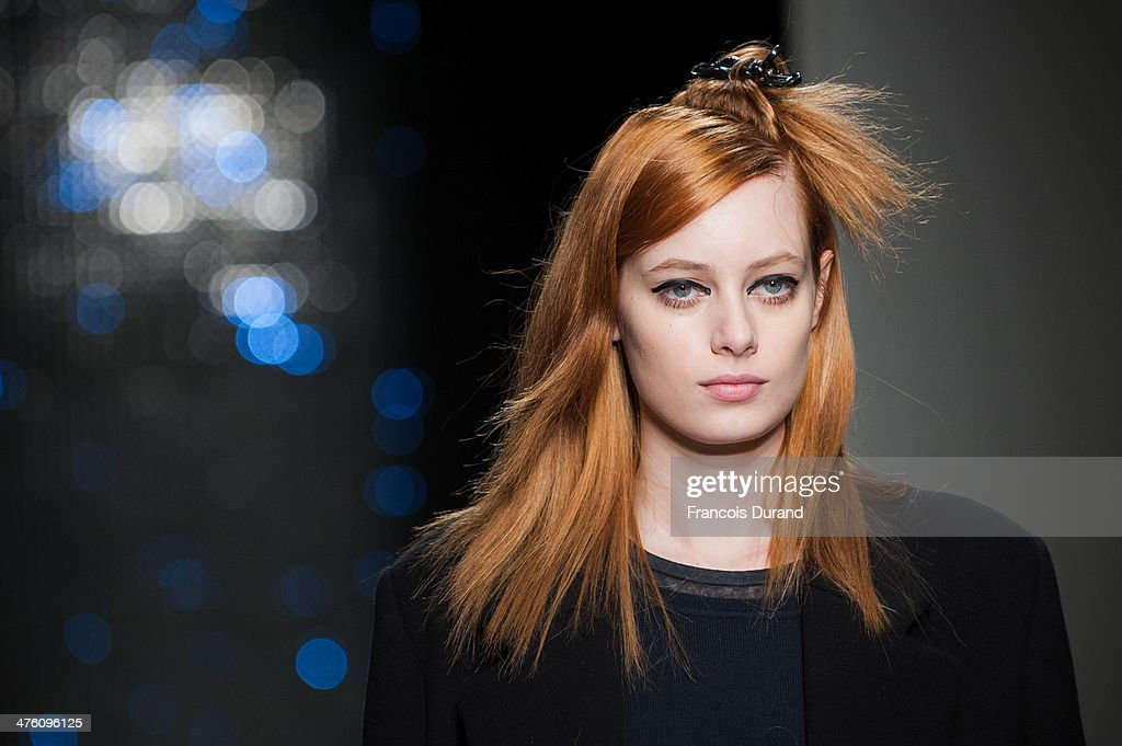 A model walks the runway during a rehearsal prior the Maxime Simoens show as part of the Paris Fashion Week Womenswear Fall/Winter 2014-2015 on March 2, 2014 in Paris, France.