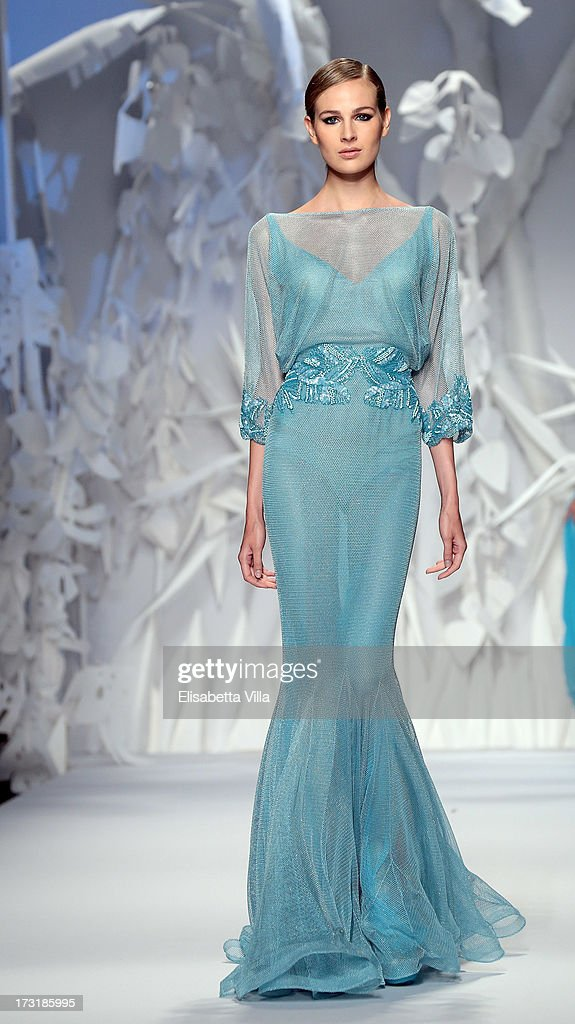 A model walks the runway during Abed Mahfouz F/W 2013-2014 Haute Couture collection fashion show as part of AltaRoma AltaModa Fashion Week at Santo Spirito In Sassia on July 9, 2013 in Rome, Italy.