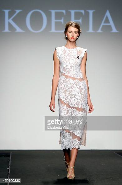 A model walks the runway during Accademia Koefia student Final Work collection fashion show as part of AltaRoma AltaModa Fashion Week at Santo...