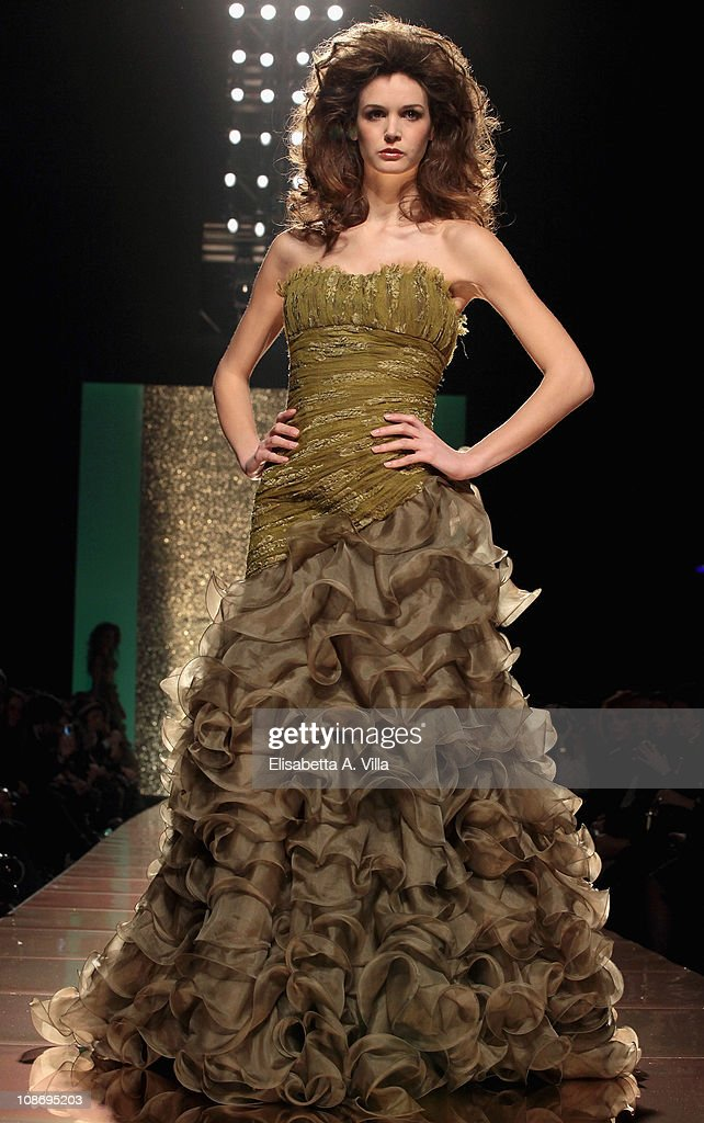 A model walks the runway during Addy Van Den Krommenacker fashion show as part of AltaModa AltaRoma Spring/Summer 2011 on February 1 2011 in Rome...