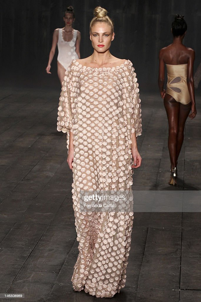 A model walks the runway during Adriana Degreas Sao Paulo Fashion Week Spring/Summer 2013 Collections Show on June 13 2012 in Sao Paulo Brazil