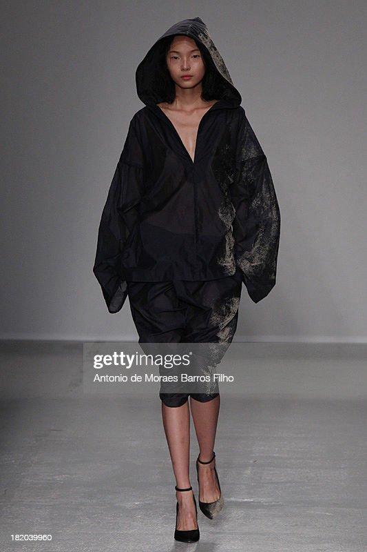 A model walks the runway during AF Vandevorst show as part of the Paris Fashion Week Womenswear Spring/Summer 2014 on September 27, 2013 in Paris, France.