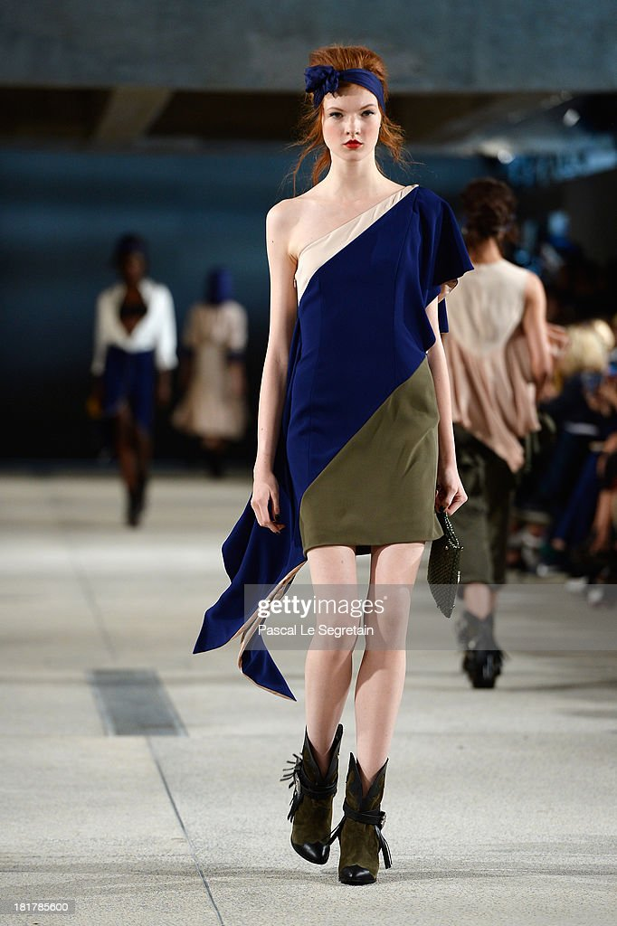 A model walks the runway during Alexis Mabille show as part of the Paris Fashion Week Womenswear Spring/Summer 2014 at Docks en Seine on September 25, 2013 in Paris, France.