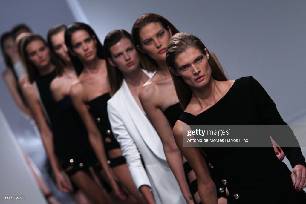 A model walks the runway during Anthony Vaccarello show as part of the Paris Fashion Week Womenswear Spring/Summer 2014 on September 24, 2013 in Paris, France.