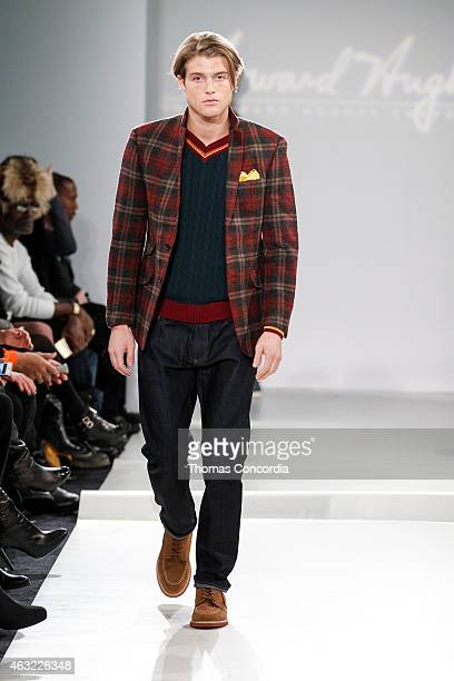 A model walks the runway during Argyleculture By Russell Simmons X ModaBox at The Cube At South Street Seaport on February 11 2015 in New York City