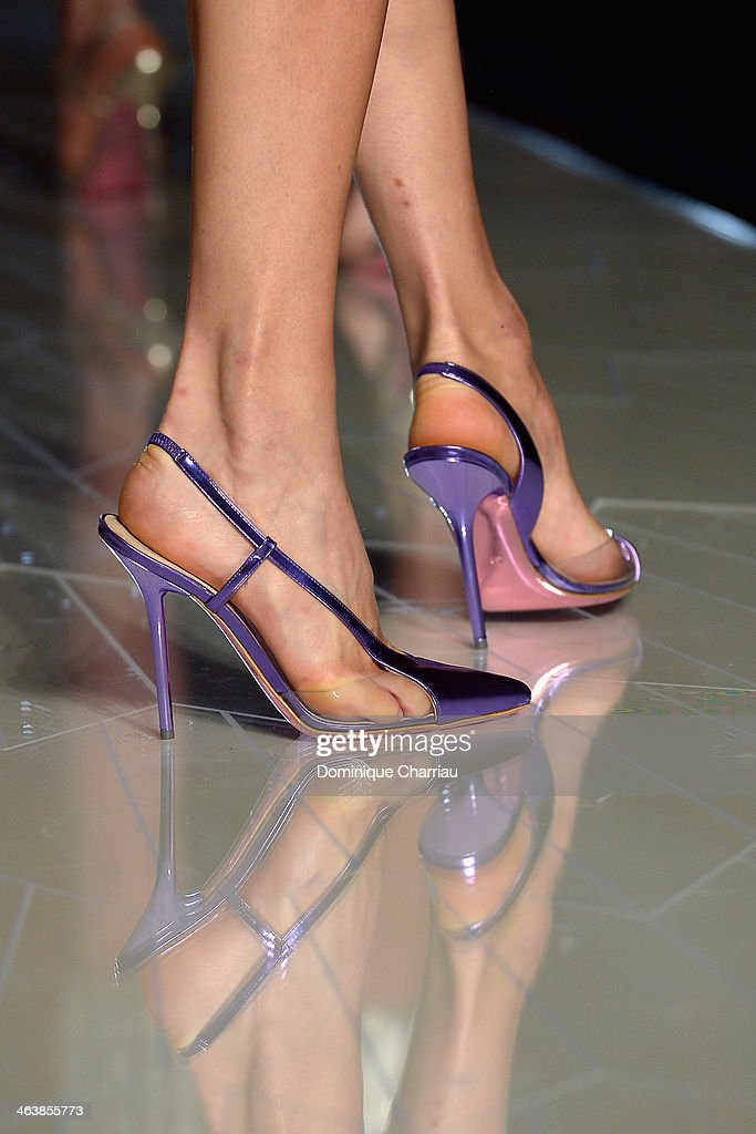 A model (shoe detail) walks the runway during Atelier Versace show as part of Paris Fashion Week Haute-Couture Spring/Summer 2014 on January 19, 2014 in Paris, France.