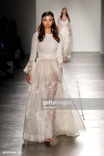 A model walks the runway during Australian Evening Bridal Wear Spring 2016 New York Fashion Week The Shows at Pier 59 on September 10 2015 in New...