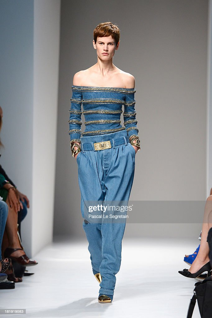 A model walks the runway during Balmain show as part of the Paris Fashion Week Womenswear Spring/Summer 2013 at Grand Hotel Intercontinental on September 26, 2013 in Paris, France.