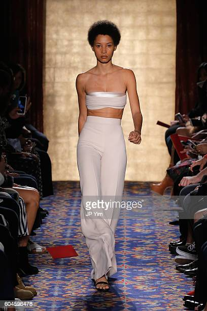 A model walks the runway during Brandon Maxwell's show at New York Fashion Week at Russian Tea Room on September 13 2016 in New York City