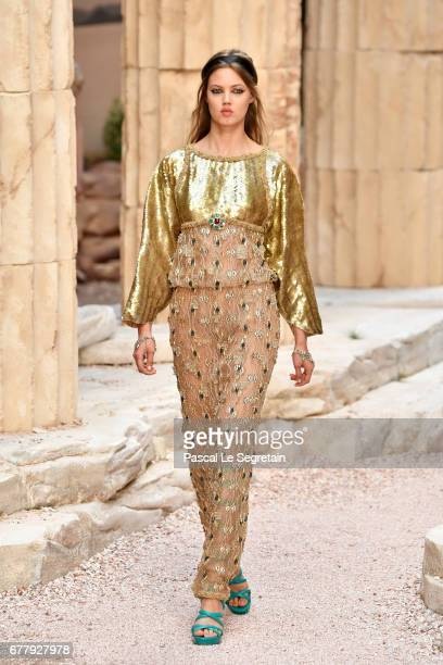 A model walks the runway during Chanel Cruise 2017/2018 Collection at Grand Palais on May 3 2017 in Paris France