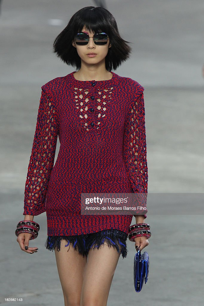 A model walks the runway during Chanel show as part of the Paris Fashion Week Womenswear Spring/Summer 2014 on October 1, 2013 in Paris, France.