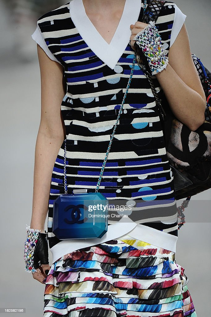 A model (detail) walks the runway during Chanel show as part of the Paris Fashion Week Womenswear Spring/Summer 2014 on October 1, 2013 in Paris, France.