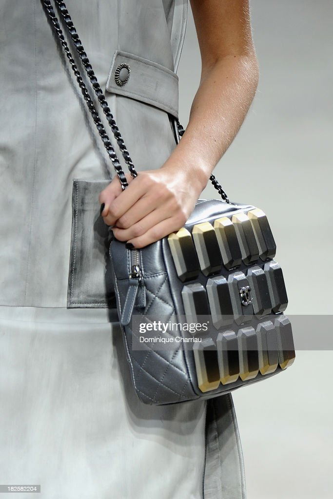 A model (handbag detail) walks the runway during Chanel show as part of the Paris Fashion Week Womenswear Spring/Summer 2014 on October 1, 2013 in Paris, France.