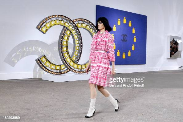 A model walks the runway during Chanel show as part of the Paris Fashion Week Womenswear Spring/Summer 2014 held at Grand Palais on October 1 2013 in...