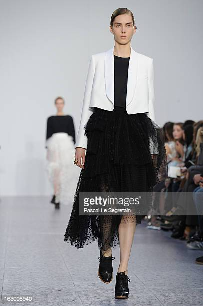 A model walks the runway during Chloe Fall/Winter 2013 ReadytoWear show as part of Paris Fashion Week on March 3 2013 in Paris France