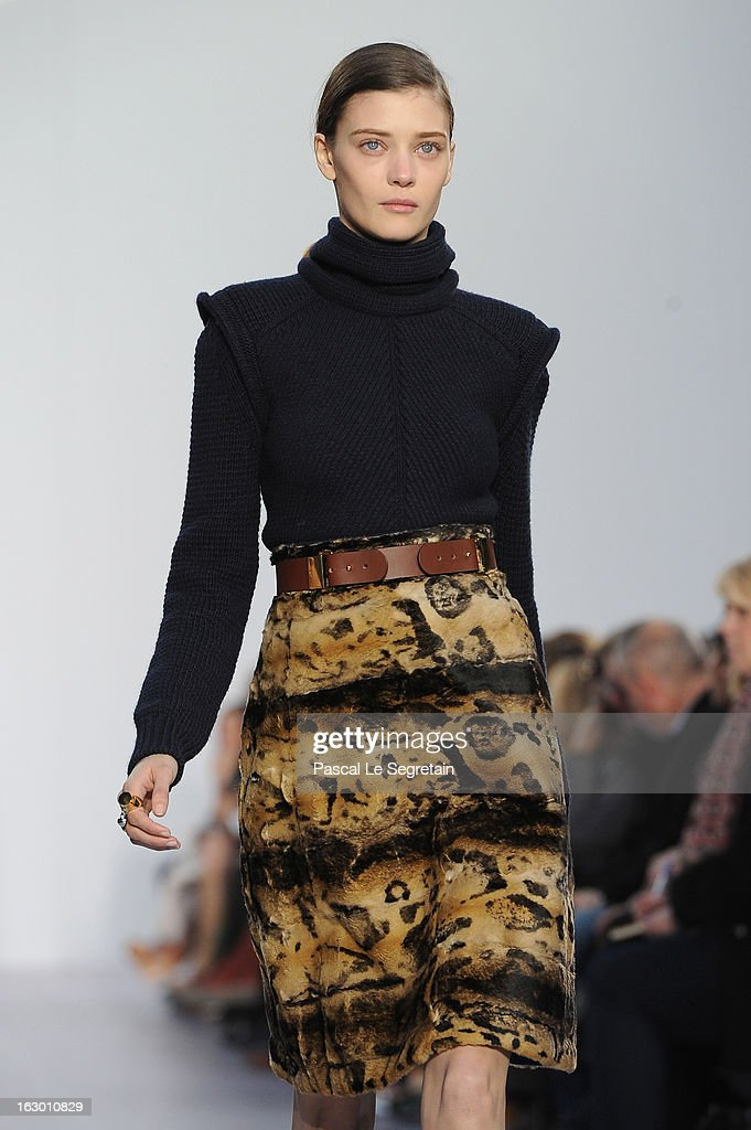 A model walks the runway during Chloe Fall/Winter 2013 Ready-to-Wear show as part of Paris Fashion Week on March 3, 2013 in Paris, France.