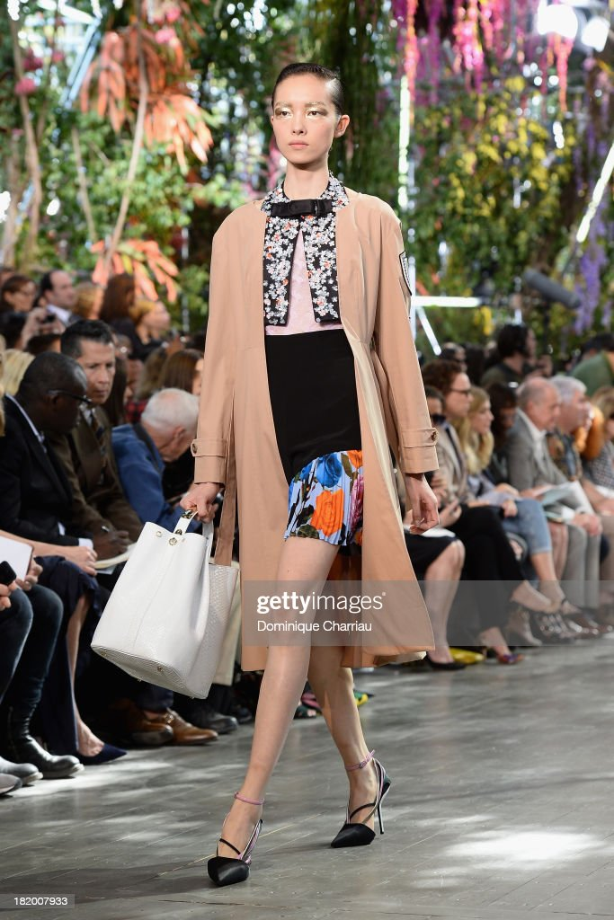A model walks the runway during Christian Dior show as part of the Paris Fashion Week Womenswear Spring/Summer 2014 on September 27, 2013 in Paris, France.