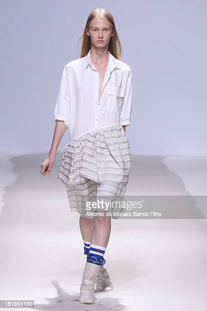 A model walks the runway during Christian Wijnants show as part of the Paris Fashion Week Womenswear Spring/Summer 2014 on September 26 2013 in Paris...