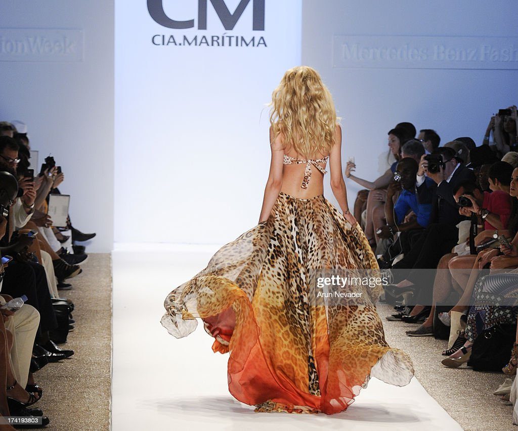 A model walks the runway during CM Cia.Maritima fashion show during Mercedes-Benz Fashion Week Swim 2014 at Raleigh Hotel on July 20, 2013 in Miami Beach, Florida.