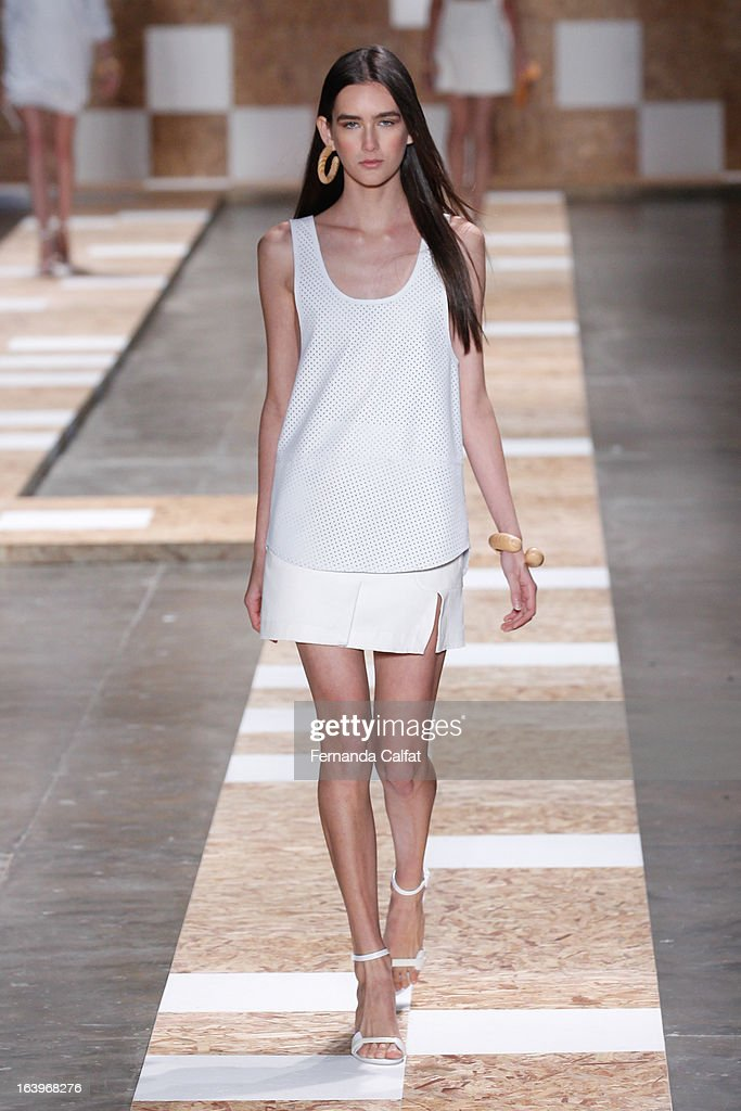 A model walks the runway during Cori show - Sao Paulo Fashion Week Summer 2013/2014 on March 18, 2013 in Sao Paulo, Brazil.