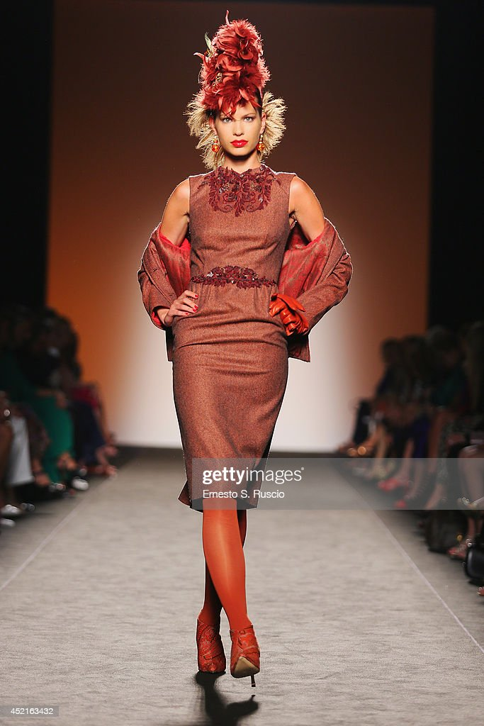 A model walks the runway during Curiel Couture F/W 2014-2015 Italian Haute Couture colletion fashion show as part of AltaRoma AltaModa Fashion Week at Santo Spirito In Sassia on July 14, 2014 in Rome, Italy.