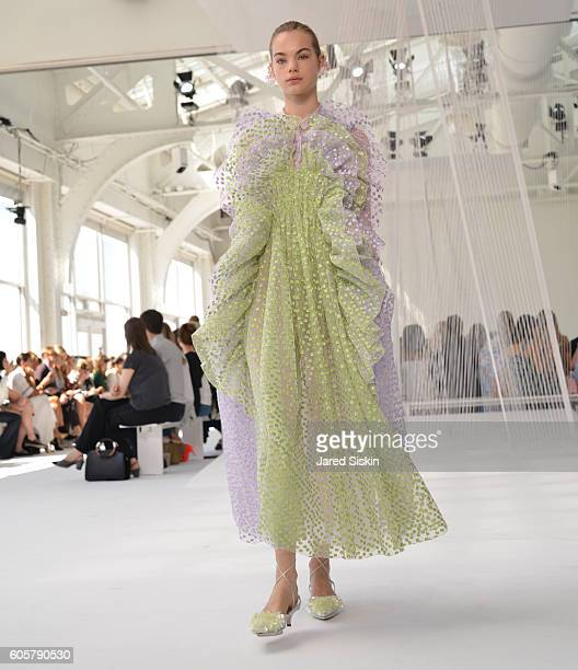 Model walks the runway during Delpozo Front Row September 2016 New York Fashion Weekat Pier 59 on September 14 2016 in New York City
