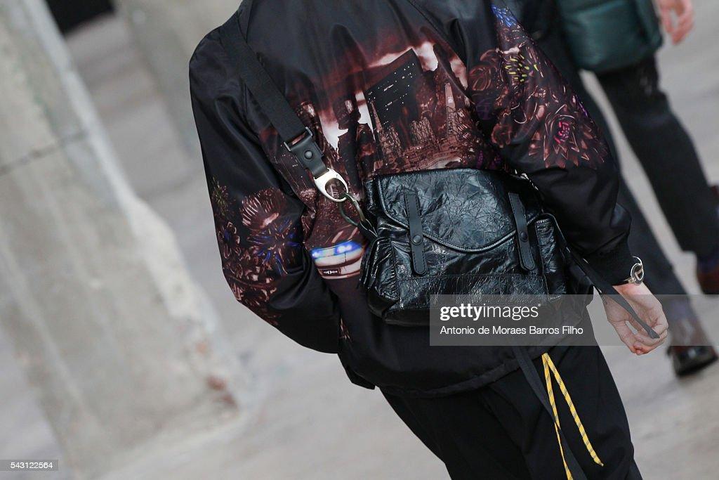 A model walks the runway during, detal, the Lanvin Menswear Spring/Summer 2017 show as part of Paris Fashion Week on June 26, 2016 in Paris, France.