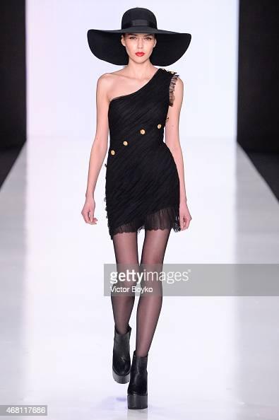 A model walks the runway during Elena Bryntsalova AutumnWinter 201516 show as part of MercedesBenz Fashion Week Russia Day 3 on March 28 2015 in...